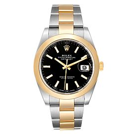 Rolex Datejust 41 Steel Yellow Gold Black Dial Mens Watch 126303 Box Card