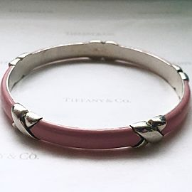 Tiffany & Co. Sterling Silver Pink Enamel X Bangle Bracelet