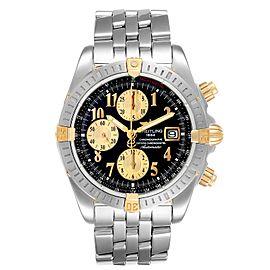 Breitling Chronomat Steel 18K Yellow Gold Black Dial Mens Watch B13356