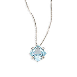 Damiani 18K White Gold with Blue Topaz and Diamond Pendant Necklace
