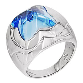 Bulgari Pyramide 18K White Gold with Blue Topaz Floral Ring Size 7