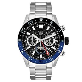 Tag Heuer Carrera Batman Bezel Chronograph Steel Watch CBG2A1Z Box Papers