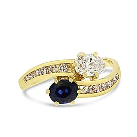 18k Yellow Gold 1.05tcw Natural Diamond & Sapphire Bypass Fashion Ring Size 6.5