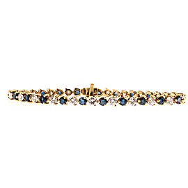 18K Yellow Gold with 4.20ct Diamond and 3.15ct Sapphire Hinged Link Bracelet