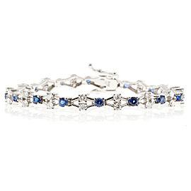 "14K White Gold with Blue Sapphire and Diamond ""X"" Bracelet"
