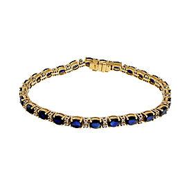 Estate 14K Yellow Gold 12.50ctw Royal Blue Sapphire and Diamond Bracelet