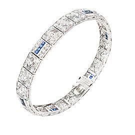 Vintage Platinum Round Diamond and Square Sapphire Art Deco Bracelet