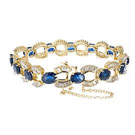 "Vintage 14k Yellow Gold Sapphire Baguette Diamond ""U"" Link Bracelet"