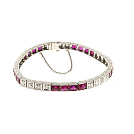 Platinum with Ruby & Diamond Bracelet