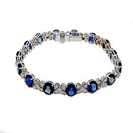 18K White Gold 22.50ctw Oval Cornflower Blue Sapphire and Diamond Bracelet