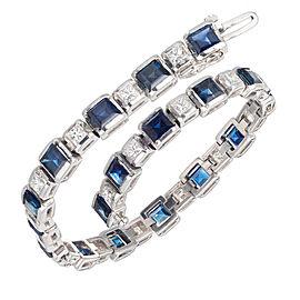 Sapphire Diamond Hinged Link Bracelet Square Princess Cut 14k White Gold