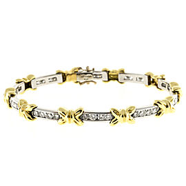 "Platinum and 18K Yellow Gold with 4.00ct Diamond ""X"" Bows Bracelet"
