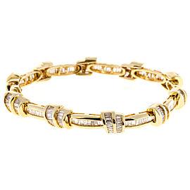 14K Yellow Gold Srt Double Swirl 279 Baguette Diamond Bracelet