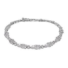 Platinum Vintage Art Deco Hinged Link Millgrain Diamond Bracelet