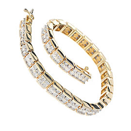 Vintage 14k Yellow Gold Full Cut Diamond Hinged Link Two Row Bracelet