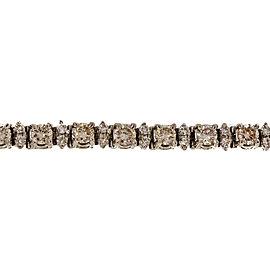 Vintage 14K White Gold 6.75ctw Diamond Hinged Link Bracelet