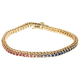 14K Yellow Gold with 10.00ct Sapphire Hinged Link Bracelet