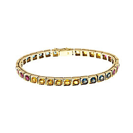 14K Yellow Gold with 10.88ct Ruby & Sapphire Bracelet