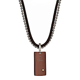 Damiani Brown Stainless Steel and 18K Gold with Diamond Pendant Necklace