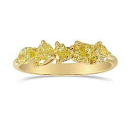 Leibish 18K Yellow Gold with 1.01ctw Yellow Mix Shape Diamonds Band Ring Size 6.5
