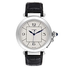 Cartier Pasha 42 Silver Dial Black Strap Steel Mens Watch W3107255 Papers