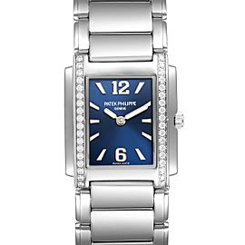Patek Philippe Twenty-4 Blue Dial Steel Diamond Ladies Watch 4910
