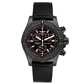 Breitling Avenger Seawolf Blacksteel Chrono Orange Hands Watch M73390 Unworn