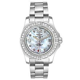 Breitling Colt 36 MOP Diamond Dial Steel Ladies Watch A74389 Unworn