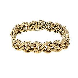 Vintage Heavy Italian Fancy Link Bracelet 18k Yellow Gold