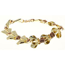 Vintage Tiffany Krementz Bracelet Retro 1935 Rose & Green Gold Flower Design
