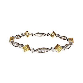 Platinum and 18K Yellow Gold with Yellow Diamond Bracelet