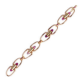 """18K Pink and Green Gold with Pink Briolette Tourmaline, Ruby and Diamond """"u"""" Link Bracelet"""