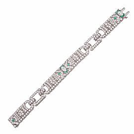 Platinum with Diamond and Emerald Art Deco Calibre Bracelet
