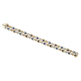 14K Yellow Gold with 6.00ct Sapphire and 3.15ct Diamond Link Bracelet