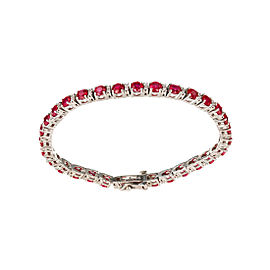 14K White Gold with 10.69ct. Ruby and 0.35ct. Diamond Vintage Bracelet