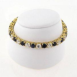 Vintage 18k Yellow Gold Alternating 8.00ctw Diamond and 10.00ctw Deep Blue Sapphire Bracelet
