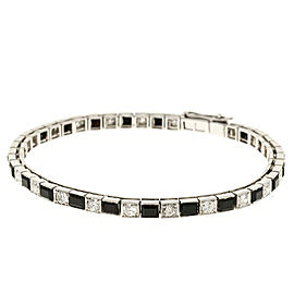 Platinum with 2.20ct. Diamond & Onyx Hinged Link Bracelet