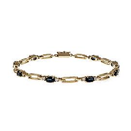 14K Yellow Gold with Sapphire & Diamond Hinged Link Bracelet