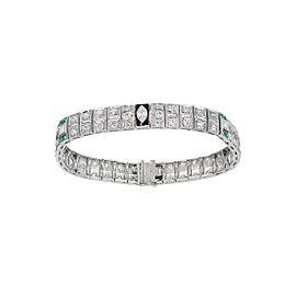 Platinum and Black Enamel with Diamond and Emerald Art Deco Bracelet
