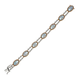 18K Rose and White Gold with Diamond, Blue Topaz and Mother of Pearl Bracelet