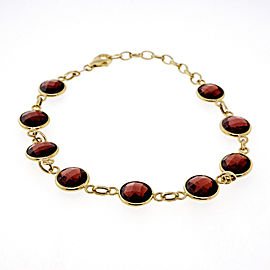 Estate Reddish Brown Checkerboard Cut 10.00ct Double Sided 14k Gold Bracelet