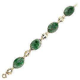 14k Yellow Gold Vintage Art Deco Jadeite Jade Bracelet