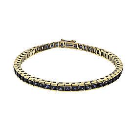 Estate Princess Cut 10.50ct Sapphire Line Bracelet 14k Gold