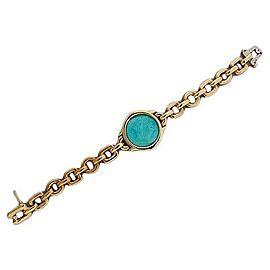 Vintage 18K Yellow Gold Persian Turquoise Bracelet