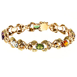 14K Rose and Green Gold with Multi Stone Bracelet
