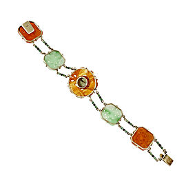 14K Yellow Gold with Jadeite Jade & Carnelian Bracelet