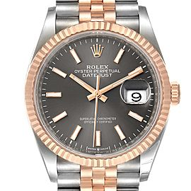 Rolex Datejust 36 Rhodium Dial Steel EverRose Gold Watch 126231 Box Card