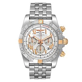 Breitling Chronomat Silver Dial Steel Rose Gold Mens Watch IB0110