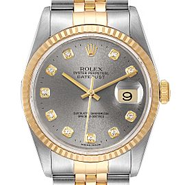 Rolex Datejust Steel 18K Yellow Gold Slate Diamond Dial Mens Watch 16233