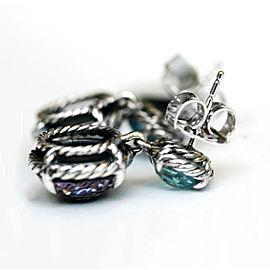 David Yurman Sterling Silver Blue Topaz Black Orchid Earrings